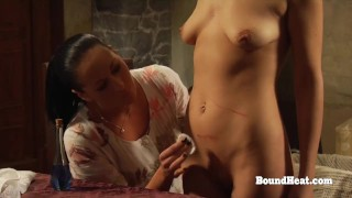 Hot Lesbian Girl Orgasming In Bondage While Maid Watches Her