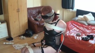 Chair tied, cock roped sissy