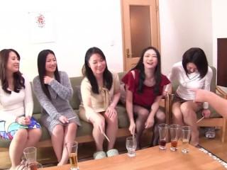 Japanese cougar party harem handjob and blowjob dare...