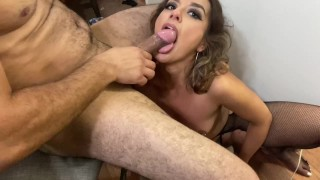 Using her throat like a pussy