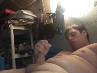 Jerks dick before bed and cums in own...