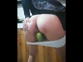 Muslim wife masturbates with Cucumber then cooking salad for husband's daddy with taste of her Pussy