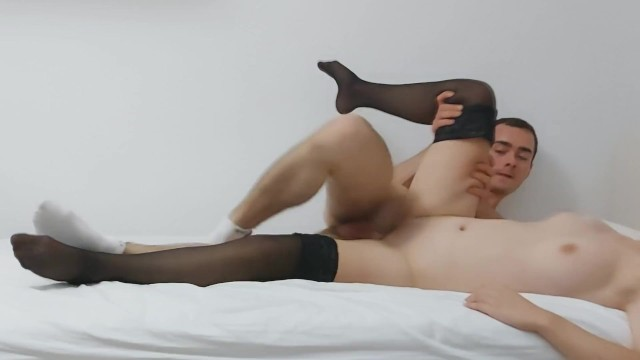 Romantic sex wearing socks and stay-ups with huge cum in condom 1