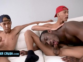 Naughty tanned brothers bang horny chocolate twink and...