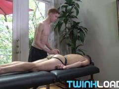 TWINKLOADS - Skinny ginger twink deep fucks hunk during massage