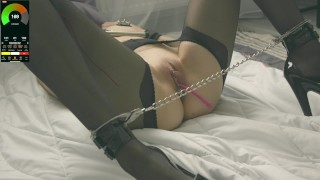 Tied up sexy girl measure pulse when vibrator in pussy and cum control to shaking orgasm