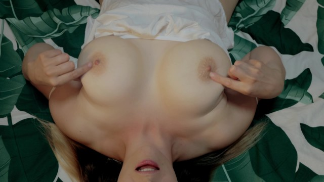 Wife caresses her big boobs. Oil massage. Cum on big tits. 10