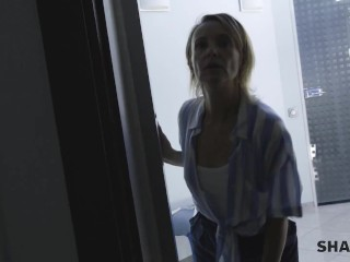 SHAME4K Blonde mature is turned on when she sees her patient naked