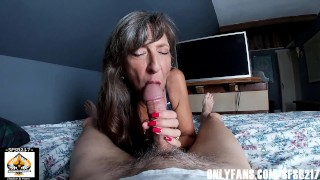 Blue Eyed Granny Swallows Cum From Big Cock