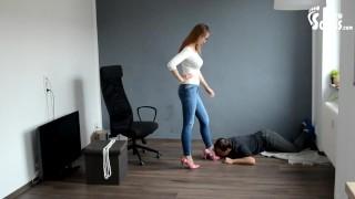Mistress's foot slave dog (foot slave, high heels, shoe worship, shoe licking, femdom, footdom,feet)