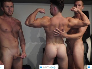 Boys going naked and flexing hard...