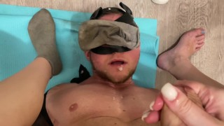 Hot femdom in dirty socks milked her husband in his mouth. POV Video.