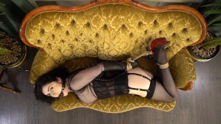 Rope bondage on the couch