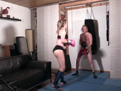 Jerome as sparring punching bag for Shemale Domme's box training (in his guts, balls & face)