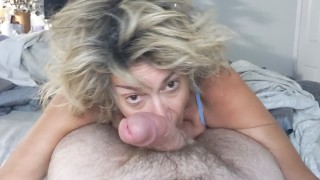 Stepmom Worships Cock and Takes a Big Cumshot in Her Mouth
