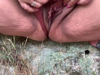 Public flashing playing spreading outdoors...
