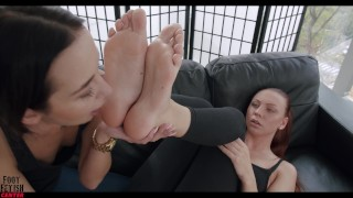 Dominant Redhead Foot fetish with ass and pussy licking