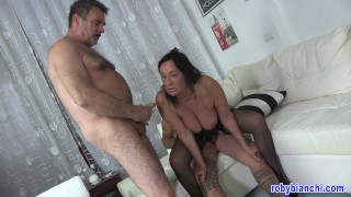 60 year old sucks two big cocks and gets her pussy and ass fucked