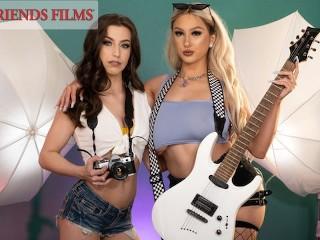 Busty rockstar skylar vox seduced by lesbian photographer...