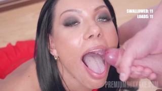PremiumBukkake - Adelle Sabelle swallows 54 huge mouthful cumshots