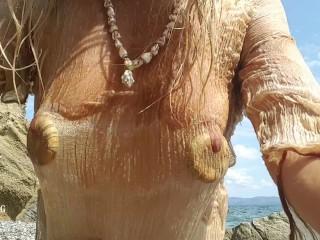 Nippleringlover no bra see through wet shirt pussy...