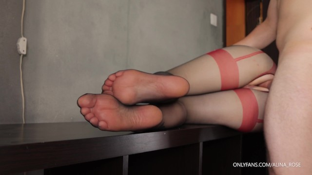 Feet Tease in pantyhose while fucking her tight pussy - Cum on Feet 15