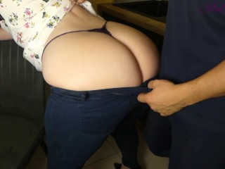 Her stepson kitchen because he cant resist...