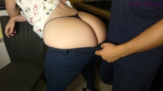 Big ass stepmom fucks her stepson in the kitchen because he can't resist!