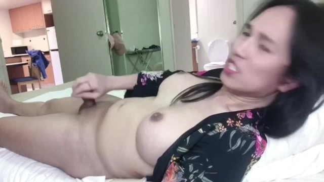 sexy trans anairb cumshot in her bed 8