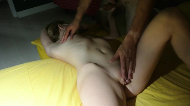 Massage of hot wifes pussy in the twilight ended with cum in mouth 3