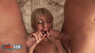Hot blonde babe Natalli di Angelo fucking with 3 guys at the same time