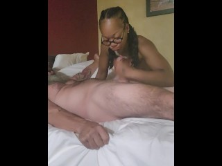 Sucking and gagging on cock at the hotel until he cums all in my mouth