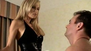 Cory Lane hot blonde in spanking male OTK and caning, spitting and slapping him then Tramples him