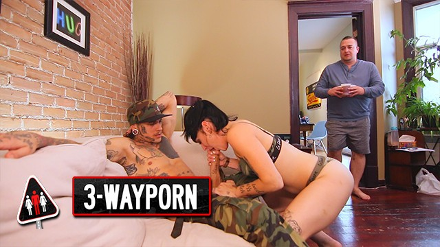 3 Way Porn - Inked Couple Fucks Fat Dude in Nasty 3Some