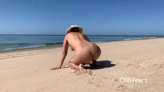 Hot Naked Teen teasing strangers at the beach