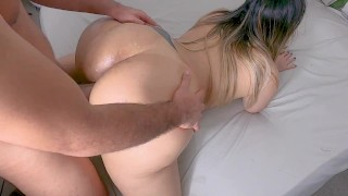 Horny Neighbor Cheating Getting Cum On Her Ass