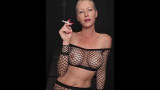 Smoking In Black Mesh