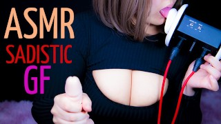 Sadistic Girlfriend lick your ears and gives a strong handjob for be a bad boy -ASMR- Role Play