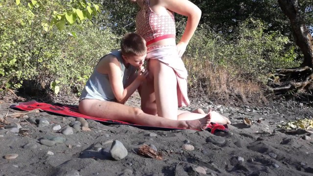 Two trans teens take a risky fuck outdoors by a river. Trans couple