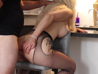 Sexy blonde gets fucked ass on barstool...