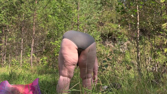 Mature bbw changing clothes in the woods Voyeur. 4