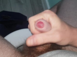 Uses lube to make his cock explode with...