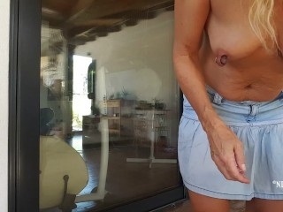 Nippleringlover flashing pierced tits pierced pussy while cleaning...