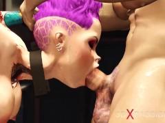 Cyberpunk sex! Two policemen fucks hard a cuffed girl