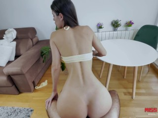 She gets a good fuck in the living room with her innocent face - cum face