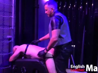 Leather master fucks his slave raw then feeds...