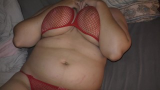 Horny hotwife in red fishnet bikini shows her cheating creampie leaking from pussy!
