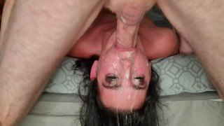 Whore gets cum deep down her throat after I roughly face fucked her | gag | sloppy deepthroat