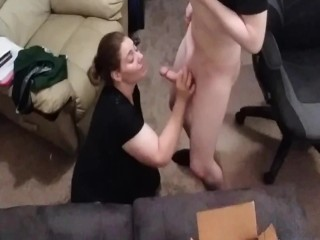 Lucky fan allowed to record but cums while...