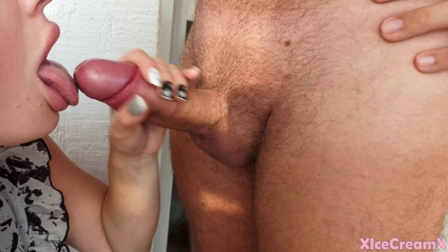 Sexy Girl Deepthroat Cock until Cum in Mouth - Closeup 10